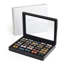 Frontgate - 30-pair Cufflink Case - Beautiful display provides easy organization. Luxuriously made with black aniline goat leather and hardwood construction. A felt bottom protects surfaces. Comes in a gift box. Turn a well-organized cufflink collection into a display piece. Covered in supple black leather, our 30-Pair Cufflink Case offers six rows of velvet-lined slots to hold 30 pairs of cufflinks, and features a glass inlay top for easy viewing.  .  .  .  .