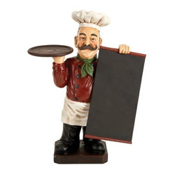 """Benzara - 19"""" French Fat Chef with Chalk Board Menu and Tray - 19"""" French fat chef with chalk board menu and tray. Great collectable Item for your home and restaurant decor. Made from cold cast resin composite material. Chalk board can be used for writing the everyday menu and specials. Dimension: 19 inch H x 14 inch wide."""