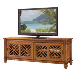 Lexington - Tommy Bahama Home Island Estate Nevis Media Console - For larger televisions, the two pierced lattice sliding doors with two adjustable shelves create a wider base unit and provide more room for the multiple media components available in today's home entertainment environment.