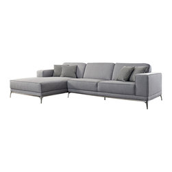 Creative Furniture - Agata Light Grey Woven Fabric Sectional Sofa - Perfect and stylish solution for a living room designed both in modern and classic styles, this Agata Light Grey Woven Fabric Sectional Sofa is made from durable materials. It features woven fabric, chromed steel legs, solid wood frame, high density foam. You can choose from Left or Right Facing Chaise.    Features: