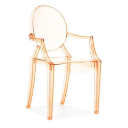 Anime Armchair, Orange - Made of translucent orange plastic, this chair is stackable, elegant but modern, and a steal at under $200.