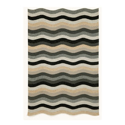 "Trans-Ocean - Waves Black 42"" x 66"" Indoor/Outdoor Rug - Classic pattern and colors aligned with Brown Jordan's design aesthetic are used in these sophisticated stylish rugs. These Tufted loop construction rugs are hand crafted in China of high quality synthetic materials. This indoor/outdoor collection is designed as a companion to Brown Jordan's outdoor furniture collections. The rugs are durable, easy to clean, and UV stabilized to minimize fading.Primary color: Black"