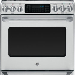 """GE Cafe Series 30"""" Free-Standing Range with Baking Drawer (model # CGS985SETSS) - Features:"""