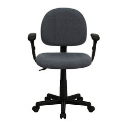 Flash Furniture - Mid-Back Ergonomic Grey Fabric Task Chair with Adjustable Arms - This value priced mesh office task chair will accommodate your essential needs for your home or office. Ergonomically correct chair that is both comfortable and well priced will satisfy the needs of most computer users.