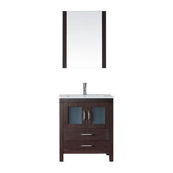 Virtu USA - Virtu USA Cabinets Dior 28 in. Vanity in Espresso with Ceramic Vanity Top in - Virtu USA once again has proven why they are in the forefront of the bathroom industry. Virtu USA has taken the best seller from the 2009 Brentford Series and gave the luxurious vanity an upgrade. Virtu USA would like to present a collection that stands on its own and represents absolute luxury. Introducing a collection that allows the consumer to have full control and customization of their vanity. Every part of the Dior was meticulously designed to ensure functionality and durability for everyday use; this is what Virtu USA does best. The Dior series is a true perfection that was designed with a spacious open-bottom for easy cleaning and deep drawers with designer easy-pull handles. Virtu USA's sales team and designers have combined experiences and recognizes what consumers want when buying a vanity. As you can see Virtu USA takes no shortcuts to ensure they provide their customers with the everyday essentials that make their daily lives just a little bit easier.