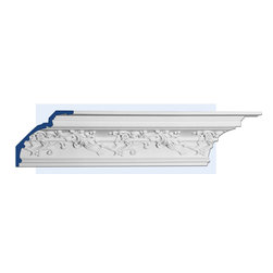 "Inviting Home - Iverson Cove Molding - Iverson decorative cove molding 6-1/4""H x 6-1/4""P x 8-7/8""F x 7'10""L; repeat - 14"" molding sold in 7'10"" length 4 piece minimum order required crown molding specifications: - outstanding quality crown molding made from high density polyurethane: environmentally friendly material is hypoallergenic and fully recyclable no CFC no PVC no formaldehyde; - front surface of this molding has extra durable and smooth surface; - crown molding is pre-primed with water-based white paint; - lightweight durable and easy to install using common woodworking tools; - metal dies were used for consistent quality and perfect part to part match for hassle free installation; - this crown molding has sharp deep and highly defined design; - matching flexible molding available; - crown molding can be finished with any quality paints; Polyurethane is a high density material -it's extremely lightweight and easy to install (and comes primed and ready to paint). It is a green material meaning its CFC and formaldehyde free. It is also moisture resistant--so it won't shrink flex or mold. What's also great about Polyurethane is that it's completely customizable and can be treated as wood (you can saw it nail it screw it and sand it). In addition our polyurethane material comes primed and ready to paint. There is a four piece minimum requirement for this molding purchase"