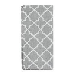 """Roz Tile Dinner Napkin, 22"""", Set of 4, Smoke Gray - Freshen up the look of a kitchen or dining room effortlessly and affordably with our tile-printed, crisp cotton napkins. 20"""" square Woven of pure cotton. Monogramming is available at an additional charge. Monogram will be placed at one corner of each napkin. Set of 4. Machine wash. Imported."""