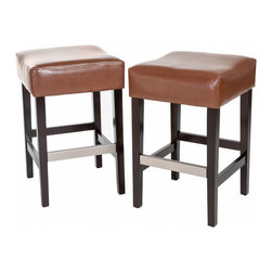 Great Deal Furniture - Barto Leather Backless Stools (Set of 2), Hazelnut Bar Height - Add comfort to your home with our Barto Backless Leather Bar Stool. Upholstered in fine bonded leather in hazelnut and unique backless design make it an ideal seat for any get together. Built from hardwood with espresso stained legs, our Barto bar stool is built to last for years to come.