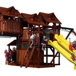 Play Structures for Any Yard size - Big Fun!  Not everyone has room for this configuration, but it does show many different components that are available: Olympian Tree House with a 6' H deck, a tower with a 7' H deck, monkey bars, side-by-side Rocket Slides for racing,a play house enclosure, a lower porch with a lemonade stand, a cabin atop the monkey bars, a fireman's pole.  Customize your own set as you choose!