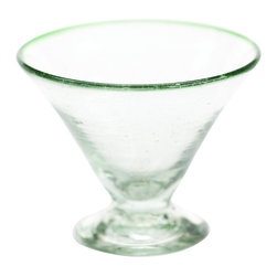 Sobremesa by Greenheart - Sobremesa by Greenheart Green Margarita Glasses, Set of 4 - Sobremesa Green Margarita Glasses, Set of 4. Enjoy a drink the eco-chic way with Sobremesa's Green Margarita Glasses, Set of 4. Made by skilled artisans from recycled glass, these clear margarita glasses feature a cone-shaped cup and a green rim. They're perfect for enjoying a cool drink in the summer and look great in a South Beach tablescape or in a contemporary home. Bottoms up!Set of four glassesMade from recycled glassProduced by artisans who are paid fair wages and work in safe conditionsMade in Guatemala