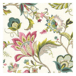 Pink & Blue Jacobean Floral Linen Fabric - Sophisticated jacobean floral in bright feminine shades of pink & blue. Perfect for the new traditionalist.Recover your chair. Upholster a wall. Create a framed piece of art. Sew your own home accent. Whatever your decorating project, Loom's gorgeous, designer fabrics by the yard are up to the challenge!