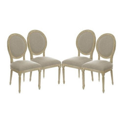 The Gallery - SET OF 4 Vintage French Round Upholstered Side Chair Dining Chairs - Impeccably upholstered chairs are the perfect way to give your dining room an upgrade, and these vintage-French-inspired dining chairs are truly exceptional in that regard. With sturdy yet smooth oak legs and natural linen seats, these utterly refined, round-backed chairs would look perfect around any table.