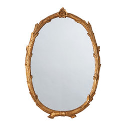 Kathy Kuo Home - Laurel Regency Antiqued Gold Leaf Branch Flower Oval Mirror - This shimmering golden mirror's design is inspired by the look of Greek laurels -branches intertwine to form a stylish frame that curves around a pristine oval mirror. With styling this gorgeous, you may just see yourself as a god or goddess when you gaze into it. Place in your modern living space for a touch of glamour or in your casual country d̩cor for a glowing, more formal contrast.