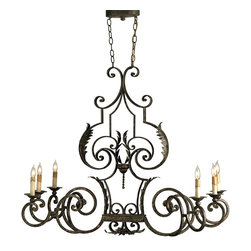 Currey and Company - Assurance Oval Chandelier - Elegant ironwork creates a stunning silhouette for the linear Assurance Chandelier. An Antique Gold Leaf finish gives it a look of the past.