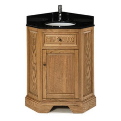 Pegasus - Chesapeake Corner Vanity in Driftwood Finish - Manufacturer SKU: G305CV2820DW. Faucet not included. Black granite top. Matching backsplash and white under mount sink. Soft close door hinges. Adjustable leg levelers. CARB ATCM compliant. Made from wood. 17.63 in. W x 26.13 in. D x 34 in. H (140 lbs.)
