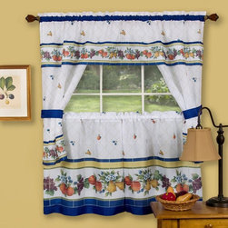 Achim - Achim Fruity Tiles Curtain Set - FICS24ML12 - Shop for Curtains and Drapes from Hayneedle.com! The Achim Fruity Tiles Curtain Set has a causal look inspired by the French countryside. Made entirely of faux silk polyester this set comes with a pair of tailored tiers a ruffled topper with attached valance and two matching blue tiebacks. The white drapery comes decorated in colorful flowers and fruits accented with unique blue tiles and a blue rod pocket.About Achim Importing Established in 1962 by its founder and current president Achim's home furnishing lines include many ready-made products specializing in decorative styles for the window and floor. Priding themselves on offering outstanding value Achim Importing puts the highest quality standards on all of their products. With a wide range of clients including major mass merchants home centers catalogs internet building suppliers and more Achim stocks most of their products in their 500 000-square-foot North Brunswick New Jersey warehouse so they can ship everything promptly.