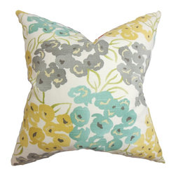"The Pillow Collection - Heloise Floral Pillow Gray - This throw pillow delivers a colorful texture to your interiors. The inviting color palette features shades of yellow, gray and blue against a white background. This square pillow is embellished with a floral pattern with a romantic spirit. Made from 100% soft cotton material, this 18"" pillow is US-made. Hidden zipper closure for easy cover removal.  Knife edge finish on all four sides.  Reversible pillow with the same fabric on the back side.  Spot cleaning suggested."