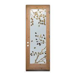 Sans Soucie Art Glass (door frame material T.M. Cobb) - Glass Front Entry Door Sans Soucie Art Glass Cherry Tree - Sans Soucie Art Glass Front Door with Sandblast Etched Glass Design. Get the privacy you need without blocking light, thru beautiful works of etched glass art by Sans Soucie!This glass is semi-private. Door material will be unfinished, ready for paint or stain.Bronze Sill, Sweep and Hinges. Available in other finishes, sizes, swing directions and door materials.Dual Pane Tempered Safety Glass.Cleaning is the same as regular clear glass. Use glass cleaner and a soft cloth.