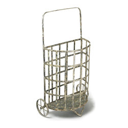 Kathy Kuo Home - French Antique Farmhouse Cottage Style Iron Shopping Floral Cart - Reminiscent of something from an old French farmhouse, this antique floral cart has an intentionally distressed, white finish that exposes its iron construction, creating its aged appearance.  A fantastic storage cart or umbrella holder in the antique-lover's cottage, this cart can also be used outdoors when treated with rust-proof spray.