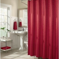 M.style Llc Div Jeffery Fabrics Inc - M. Style Waves 72-Inch x 72-Inch Shower Curtain in Red - Inspired by the movement of water rushing over river stones, the uniquely woven fabric of this shower curtain offers highlights and lowlights to catch the movement of the pattern.