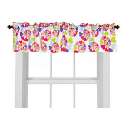 """Room Magic - Heart Throb Window Valance - Our Heart Throb window valance coordinates with the bedding fabric, knobs and accessories to make the room theme complete.  This fun designer fabric has graphic swirls of multi-colored hearts. 15""""H x 59"""" W."""