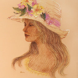 Gloria Trachtenberg, Woman with Flowered Hat, Color Pencil Drawing - Artist:  Gloria Trachtenberg, American