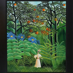 overstockArt.com - Rousseau - Woman Walking in an Exotic Forest Oil Painting - Enjoy Henri Rousseau's beautiful display of naive jungle themes, Woman Walking in an Exotic Forest. Today it has been hand painted on canvas, color for color and detail for detail. Henri Julien Felix Rousseau was a French Post-Impressionist painter. Also known as Le Douanier (the customs officer), he was a tax collector. Ridiculed during his life, he came to be recognized as a self-taught genius.
