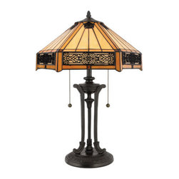 Quoizel Lighting - Quoizel TF6669VB Tiffany 2 Light Table Lamp, Vintage Bronze - Long Description: Features a handcrafted tiffany art glass shade in a creamy neutral color, overlayed with intricate filigree accent panels.