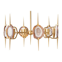 Kathy Kuo Home - Eclipse Satin Brass Natural Agate Stone 6 Light Chandelier - Talk about a natural beauty. This sexy chandelier is unlike anything you've ever seen. A true conversation piece, it has an edgy appeal that adds an instant shot of glamour wherever you hang it. Each piece of natural agate varies in color and pattern for one-of-a-kind character.