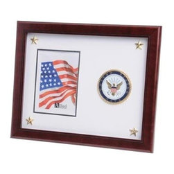 Flags Connections - U.S. Navy Medallion Picture Frame with Stars - U.S. Navy Medallion Picture Frame with Stars is designed to hold a single 5-Inch by 7-Inch picture. This picture is set into a double layer of Navy White matting with Gold trim. Each corner contains a golden star for added detail. The frame is made from Mahogany colored wood, and the outside dimensions measure 13-Inches by 16-Inches. The U.S. Navy Medallion 5-Inch by 7-Inch Picture Frame with Stars is perfect for proudly displaying the picture of an individual who is serving, or has served in the U.S. Navy.