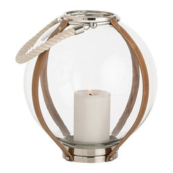 Arteriors - Gloria Lantern - This round glass globe is wrapped and strapped with belts of brown stitched leather. Polished stainless steel accents the cream colored cotton rope handles.
