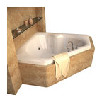Spa World Corp - Atlantis Tubs 6060CWL Cascade 60x60x23 Inch Corner Whirlpool Jetted Bathtub - The cascade series bathtubs feature a three-cockpit cradle opening, rounded interior edges for safety and luxury, stylish design, and a standard corner installation. Whirlpool tubs feature jets and recirculating pumps to supply a hydro-therapeutic experience. Whirlpool tubs are designed to provide a more vigorous and comforting massage with jets positioned to direct warm water to areas like the lower and upper back, shoulders and legs. The Atlantis whirlpool hydro therapy configuration consists of symmetrically-allocated, 360� direction-adjustable water jets. System control is located on the entrance side panel, allowing bathers to turn water streams on and off. Drop-in tubs have a finished rim designed to drop into a deck or custom surround. They can be installed in a variety of ways like corners, peninsulas, islands, recesses or sunk into the floor. A drop in bath is supported from below and has a self rimming edge that is designed to sit over a frame topped with a tile or other water resistant material. The trim for the air or water jets is featured in white to color match the tub.