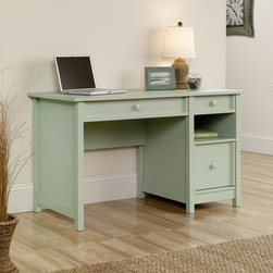 Sauder - Sauder Original Cottage 2-Drawer Desk - 414141 - Shop for Desks from Hayneedle.com! The Sauder Original Cottage 2-Drawer Desk presents a transitional cottage style that s at home in any interior including your choice of soft-hued contemporary finish. Crafted from durable high-density particleboard this versatile desk provides plenty of leg room for computer work plus a cubbie shelf and a large full-extension drawer for letter-size hanging files.About SauderSauder is North America's leading producer of ready-to-assemble (RTA) furniture and the nation's fifth largest residential furniture manufacturer. Based in Archbold Ohio Sauder also sources furniture from a network of quality global partners including a line of office chairs that complement its residential and light commercial office furniture. Sauder markets more than 30 distinct furniture collections in a full line of RTA furnishings for the home entertainment home office bedroom kitchen and storage.Sauder is a privately held third-generation family-run business. The company prides itself on its awareness that all function and no fashion makes for a dull living space when it comes to home furnishing products. That's why Sauder's award-winning design team has produced more than 25 collections of stylish furniture that span the design spectrum. From minimalist modern or contemporary to classic 18th century or country styles Sauder has what you're looking for. The company offers more than 500 items - most priced below $500 - that have won national design awards and generated thousands of letters of gratitude from satisfied consumers.