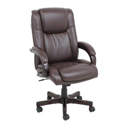 Barcalounger - Barcalounger Titan ll Bonded Leather Office Chair in Larrimore Mocha - Barcalounger - Office Chairs - 178008511616 - The Barcalounger Titan ll Bonded Leather Office Chair is part of the Titan ll Office Chair collection. Plush comfort and style covered in preminum bonded leather with matched vinyl. The pocketed coil seat cushion offers hours of seating comfort eliminating stress points. The walnut finished arms have nicely padded tops while the seat featurers a butterfly plate for comfort. The walnit base features a 360 degree swivel with casters.