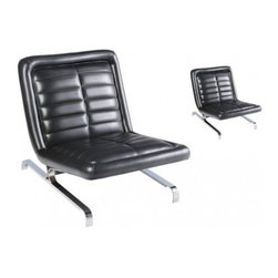 Pair of Vintage Leather and Chrome Lounge Chairs - Pair of vintage leather and chrome lounge chairs circa 1960's.