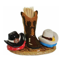 WL - 3.75 Inch Western Salt and Pepper Shaker and Toothpick Holder - This gorgeous 3.75 Inch Western Salt and Pepper Shaker and Toothpick Holder has the finest details and highest quality you will find anywhere! 3.75 Inch Western Salt and Pepper Shaker and Toothpick Holder is truly remarkable.