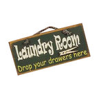 Sleepy's Signs - Rustic Laundry Room Wood Sign - Rustic  Wood  Sign  -  Laundry  Room  -  Drop  Your  Drawers  Here          Add  a  bit  of  humor  to  your  rustic  decor  with  this  solid  wood  sign.  Emblazoned  with  Laundry  Room  -  Drop  your  drawers  here,  this  vintage  styled  sign  has  a  distressed  green  finish,  clothespin  and  simple  rope  hanger.  Handcrafted  in  the  USA,  this  bit  of  humor  is  great  for  actual  laundry  room,  game  room,  bar,  mud  room  or  any  rustic  decor  in  lodge,  log  home  or  cabin.                  Rustic  Wood  Laundry  Sign              12  inches  wide  x  5.5  inches  high              Rope  Hanger              Made  in  USA              Allow  4-6  weeks  for  shipping