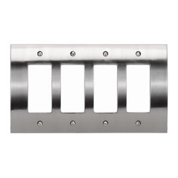"Atlas Homewares - 4.87"" Zephyr Quad Rocker - Features: -Switch plate. -Zephyr collection. -Available in black or brushed nickel finish. -Zinc die cast construction. -Contemporary style. -Overall dimensions: 0.37"" H x 4.87"" W x 8.625"" D."
