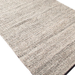 Jaipur Rugs - Flat-Weave Soft Hand Wool/Art Silk Gray/Ivory Area Rug (5 x 8) - Woven recycled Sari silk is mixed with un-dyed wool to create a blanket of texture and color. The rugs are reversible making them versatile as well as soft and comfortable.