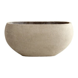Cyan Design - Cyan Design Eugina Transitional Planter, Large - From the Eugina Collection, this large Cyan Design planter features a prominent curvaceous body. The body, which features a large, wide mouth, has been adorned with a casual gridded pattern. It also features a versatile Brown finish and fiber clay construction.