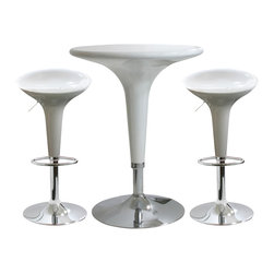 Buffalo Tools - AmeriHome 3 Piece Modern Adjustable Height Bar Set - White - 3 Piece Modern Adjustable Height Bar Set - White by AmeriHome The AmeriHome 3 Piece Modern Adjustable Height Bar Set has a fun and funky design with clean, modern lines that fits in perfectly with a contemporary d??cor. This 3 piece bistro Bar Set is comfortable for 2 adults to have a small meal in the breakfast nook, a cup of coffee in the sunroom, or snacks watching the game in the basement TV room. Great for college dorms, office break rooms, and children?��s play rooms too. A sleek and fun silhouette with a polished mirror-like chrome base and shiny molded seats give this set a fun ultramodern look. The Adjustable Height Bar Table and Bar Stools are made from durable ABS plastic. A dimple on the tabletop indicates where to find the height adjustment lever, so you won?��t have to bend over and search for it under the table. The bar stools are designed for comfort with a 14.75 inch wide molded 360 degree seats, built in footrests and an adjustable seat height of 22 to 30 inches. Great features that make this 3 Piece Contemporary Adjustable Height Bar Set comfortable for everyone.  Fun and funky design has clean, modern lines and fits in perfectly with a contemporary d??cor.  Great table to provide extra space for your family and guests in the breakfast nook, sunroom or basement TV room Bar stool adjustable seat height: 22 to 30 in., bar stool weight capacity: 330 lbs., max seat back height 33 in. Bar table adjustable height: 28 to 36 in., bar table weight capacity: 265 lbs., 24 inch diameter table top Set includes 1 glossy white adjustable bar height table in and 2 glossy white adjustable counter height bar stools
