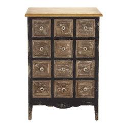 Antique Wood 12-Drawer Chest - Description: