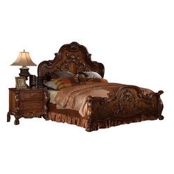 "Acme - 5 PC Dresden Collection Cherry Oak Finish Wood Queen Bedroom Set with Decorative - 5-Piece Dresden collection cherry oak finish wood queen bedroom set with decorative carvings and Ball and claw feet. This set includes the queen bed set, one nightstand, dresser, mirror and chest. Queen bed features decorative carvings, Ball and claw feet. Nightstand measures 32"" x 20"" x 31"" H. Dresser measures 66"" x 20"" x 38"" H. Mirror measures 46"" x 46"" H. Chest measures 43"" x 20"" x 55"" H. Some assembly may be required. TV armoire also available separately at additional cost. Cal king and Eastern king also available at additional cost."