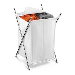 Chrome 2-Compartment Folding Hamper W/Cover - Honey-Can-Do HMP-01125 Chrome Double Folding Hamper, white. A stylish laundry solution, this chrome folding hamper has two compartments to make sorting laundry a breeze. An integrated fold-over cover keeps contents concealed and keeps any laundry area neat and clean. The cover itself is washable while the brilliant chrome plated steel frame is both sturdy and rust resistant. When not in use, this hamper folds to flat so it can be quickly and easily moved or stowed away.