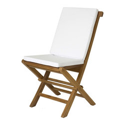 All Things Cedar - All Things Cedar TC19-2 Folding Chair Cushion, White - Hi Density Foam - Covered with a Soft-Faced Cotton Canvas. Edges have reinforced piping Tie downs keep cushion snuggly positioned                                                                                                                                                                                                            Colors: White, Blue, Green, Maroon    Dimensions:   16 x 34 x 2 in. (w x d x h)    This product is the cushion only. The TF22 Folding Chair  is sold separately.