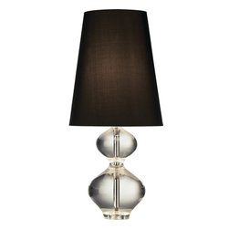 "Robert Abbey - Jonathan Adler Claridge Table Lamp - Claridge's is a 5-star hotel in Mayfair London. The connections with royalty have led folks to call it the ""Buckingham Palace annex"". Wouldn't you like a royal-like table lamp in  your humble palace? Made of crystal, nickel and a dupioni silk shade, this Jonathan Adler piece has a stately vibe."