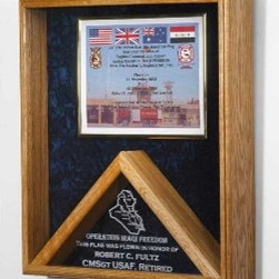 Military Medal and Flag Display Case - Shadow Box - Military Medal and Flag Display Case - Shadow Box