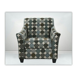 """Benchley - Ez Chair Accent Chair in A Circles Pattern Fabric - EZ Chair accent chair with flared arms and wood feet upholstered in a circles pattern fabric. Chair measures approx 36"""" x 40"""" x 35"""" D. This chair comes as shown or can be ordered in additional fabrics upon request at an additional cost."""