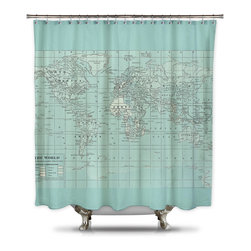 Shower Curtain HQ - Catherine Holcombe Pillow Fabric Shower Curtain, Standard Size - World map with a mint green overlay