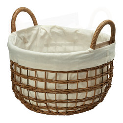 KOUBOO - Open Weaver Wicker Basket with Liner, Small - Diameter 15 inches x 9.5 inches high (total height with handles 13 inches).